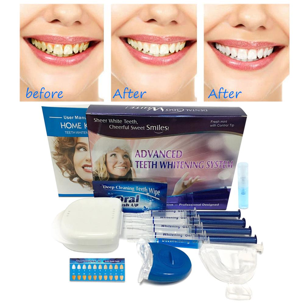 Professional Teeth Whitening Kit With 4 Gel Tube 2 Mouth Trays