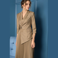 2019 Spring Original Unique Design of Special and Elegant Solid Pleated Notched 3/4 Sleeve Irregular Woman Dress 2 Colors OL