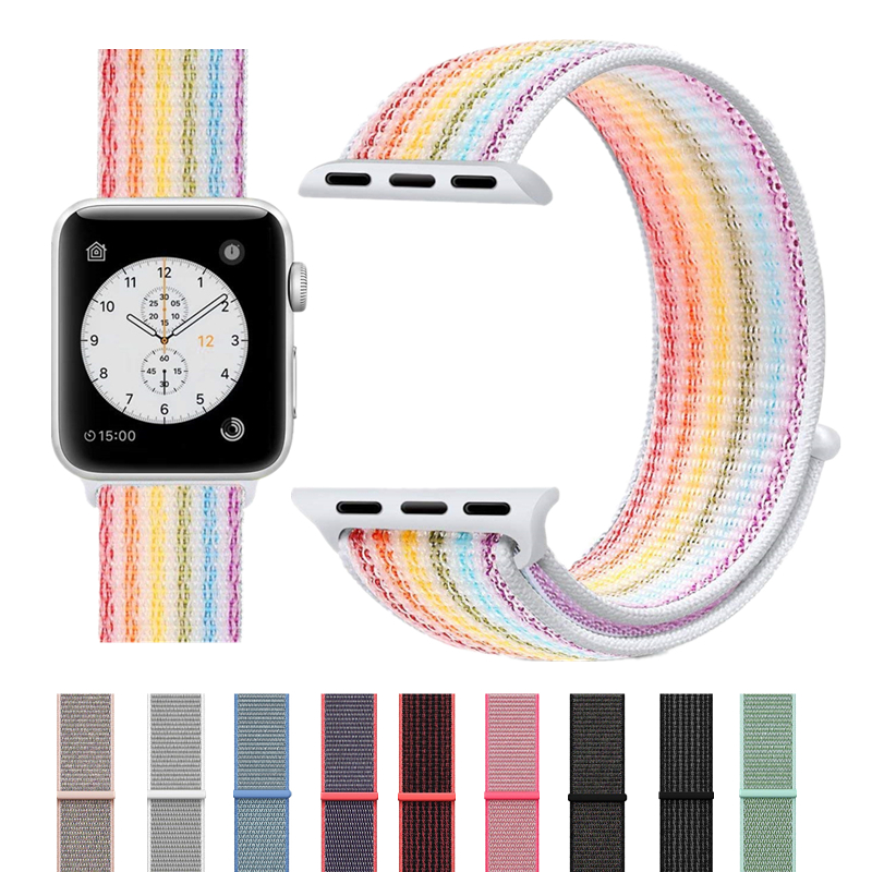 ASHEI Colorful Sport Nylon Band for Apple Watch Series 4 40mm 44mm Series 3/2/1 38mm 42mm Soft Breathable Strap for iWatch bands colorful soft silicone for iwatch sport band replacement watch strap for apple series 1 2 3 4 watch bands 38mm 42mm 40mm 44mm