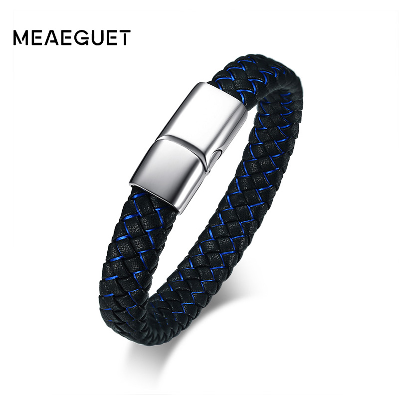 Meaeguet Hiphop Black/Blue Silk Braided Microfiber Leather Bracelet Men Stainless Steel Charm Jewelry WIth Magnet Buckle