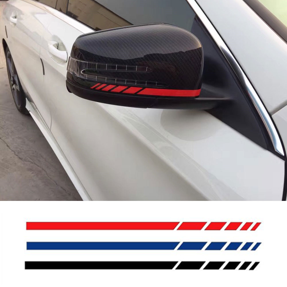 4-Color Side Rear View Mirror Stripes Decal Sticker for Mercedes Benz W204 W212 W117 W176 Edition 1 AMG Style mirror cover mirror housing with blinker lamp for mercedes benz w204c160 c180 c200 c220 c230 c240 c270 c280 c320 c350 2128100864