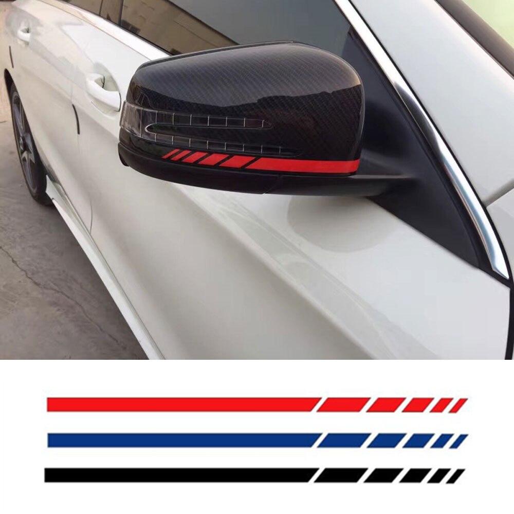 Car side mirror sticker design - 4 Color Side Rear View Mirror Stripes Decal Sticker For Mercedes Benz W204 W212 W117