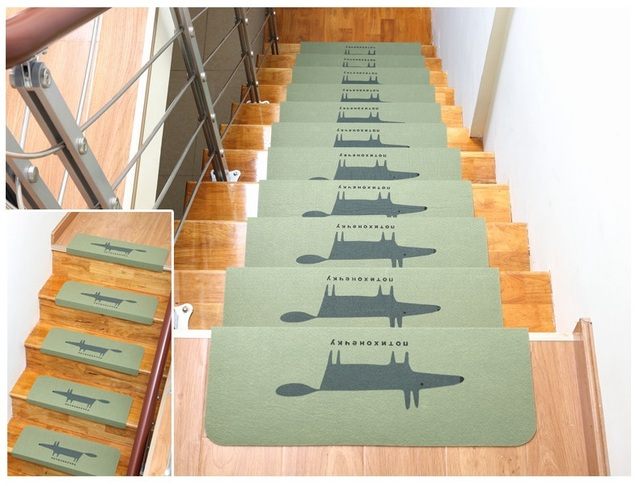 5pcs/lot Self Adhesive Home Floor Staircase Carpets Fox Bear Non Slip Stair