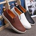 2016 nueva primavera otoño moda Casual pisos hombres de los holgazanes zapatos punta redonda Slip On Home zapatos perezosos tamaño 38-47 caliente con la piel