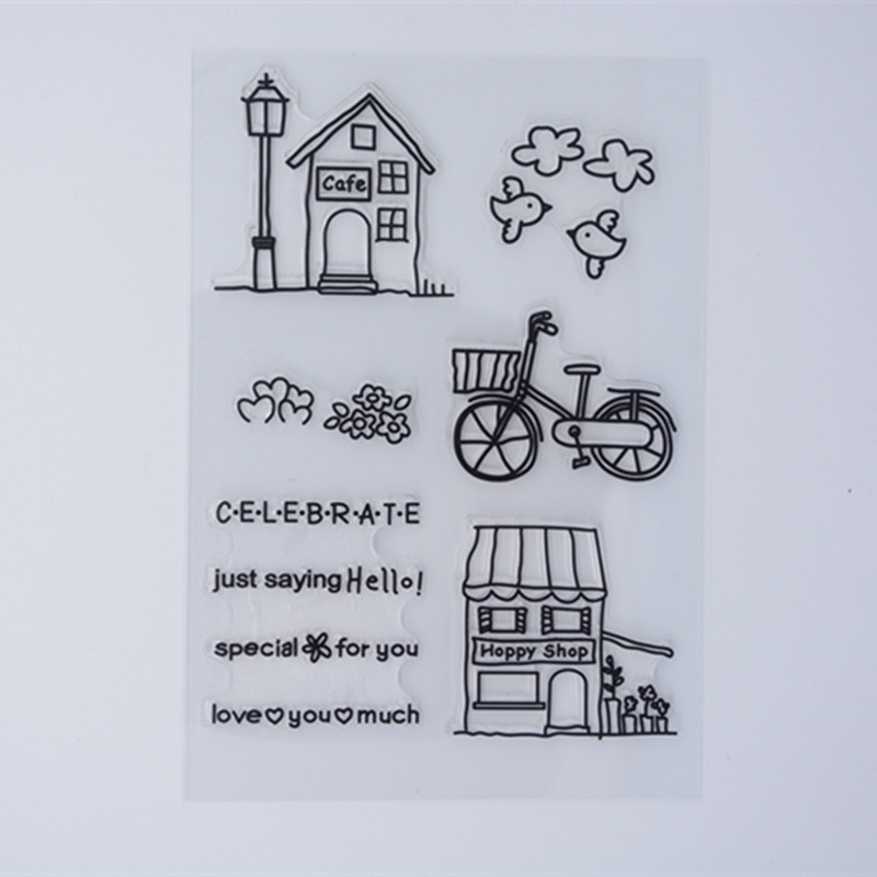 New Scrapbook DIY Photo Album Cards Transparent Acrylic Silicone Rubber Clear Stamps Sheet House Bike Bird
