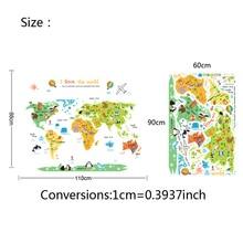 Cartoon world map PVC DIY Self Adhesive Vinyl Wall Stickers