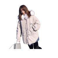 Cotton parkas female 2018 fashion winter jacket women hooded big fur collar ladies long down cotton coat female warm jacket
