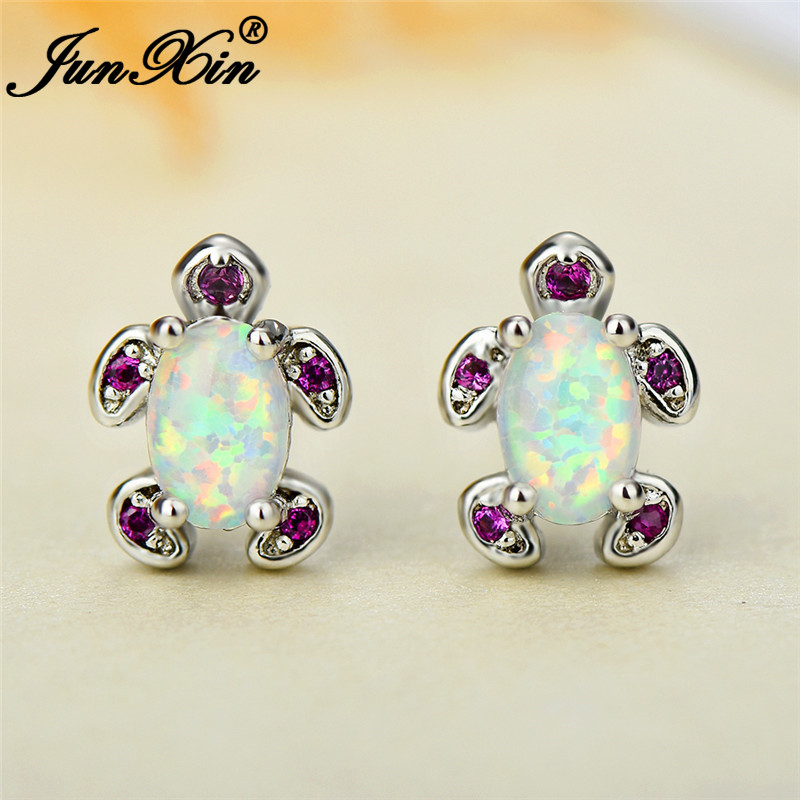 JUNXIN Cute White Blue Fire Opal Turtle Stud Earrings For Women Silver Color Oval Birthstone Red Zircon Earrings