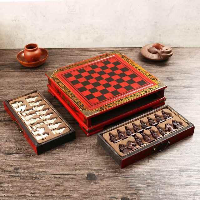 Haute qualité 32 pièces/ensemble résine échecs chinois avec Table en bois café Vintage à collectionner cadeau divertissement jeu de société 4