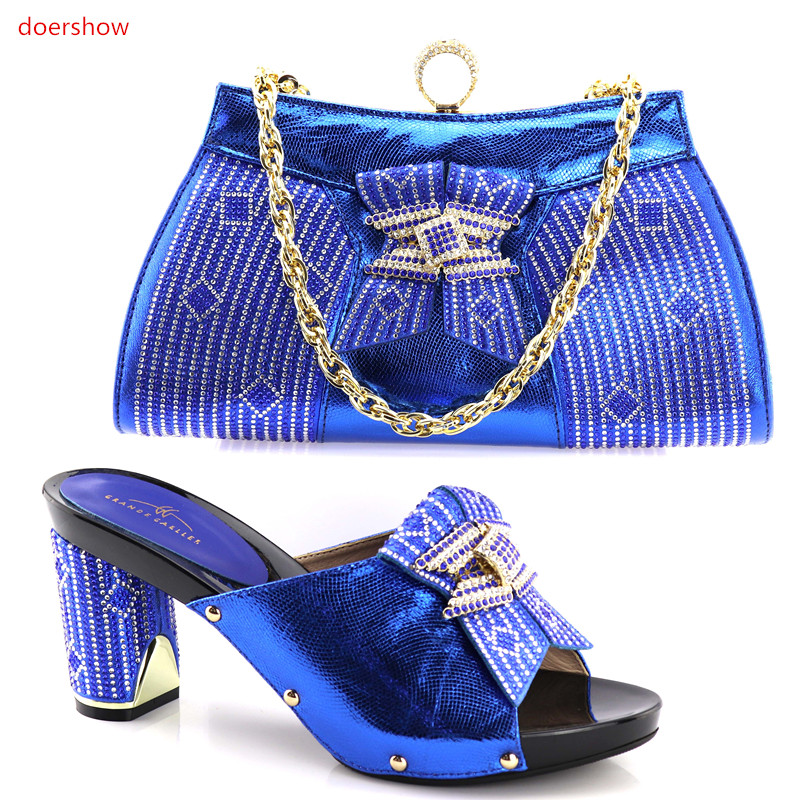 doershow Charming Italian Shoes With Matching Bags Rhinestones blue High Quality African Shoes And Bags Set for Wedding!HV1-41 doershow african shoes and bags fashion italian matching shoes and bag set nigerian high heels for wedding dress puw1 19