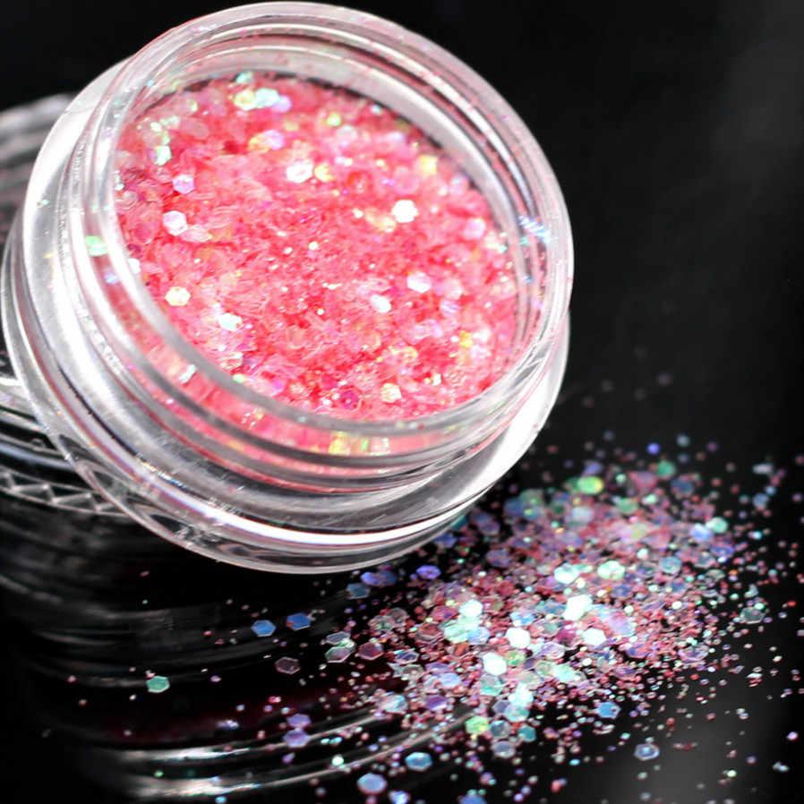 LOLEDEเลเซอร์ทองสีเล็บเล็บเล็บArt Glitter Flakes UV Gel Starหัวใจดอกไม้Pailletteตกแต่งเครื่องมือ