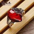 2017 новых Природных полудрагоценных камней Тайский Стерлингового Серебра 925 красный корунд красный гранат открыть относится сердца shaped ретро кольца