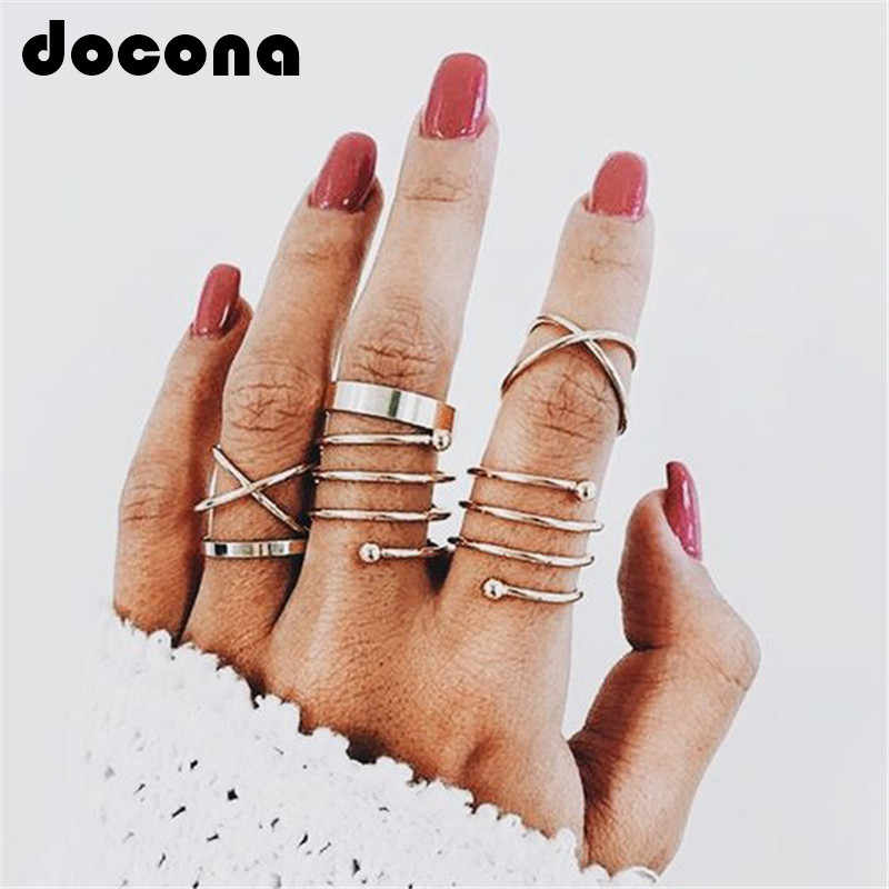docona  Multi Gold Round Rings Set Midi Finger Ring Set for Women Girl Simple Band Rings Accessories Jewelry 5562