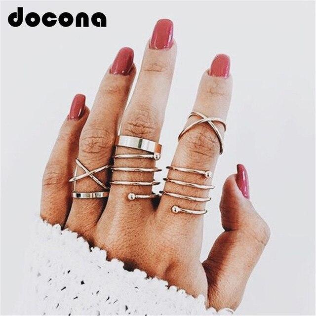 docona Multi Gold Round Rings Set Midi Finger Ring Set for Women Girl Simple Ban