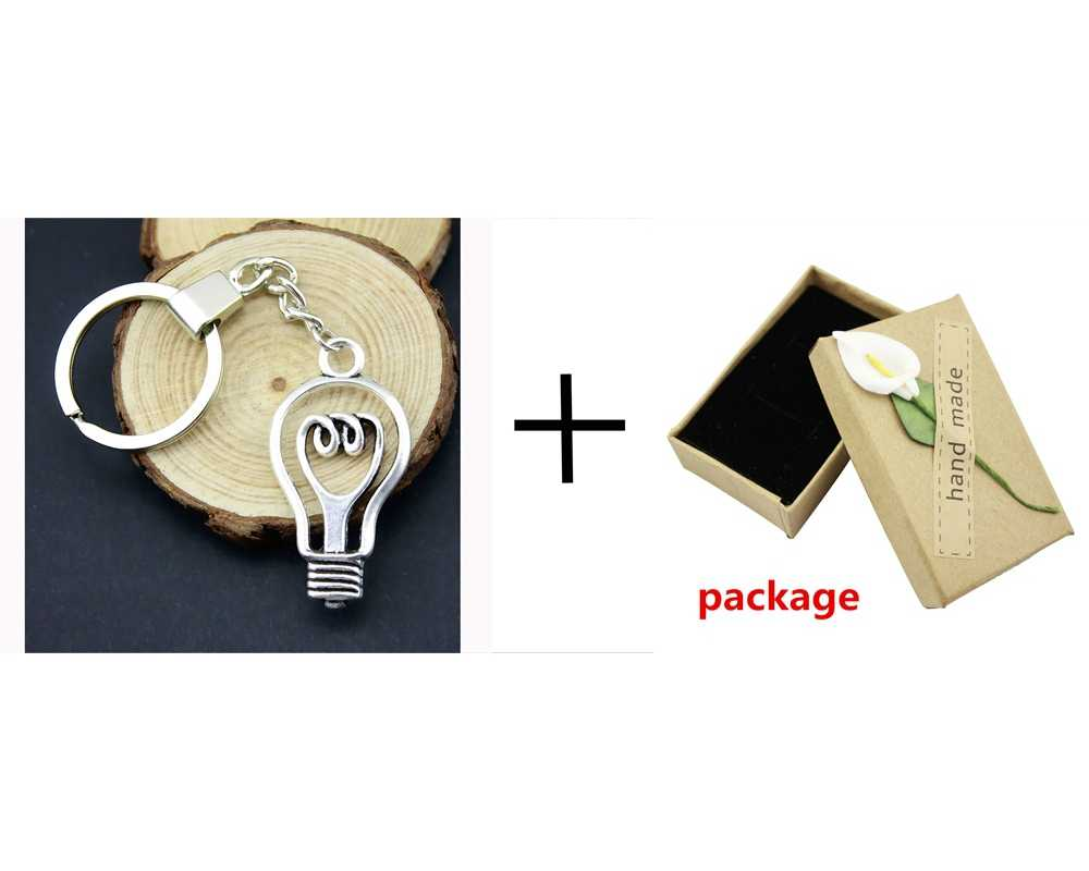 Home Decor Metal Crafts Party Favors Light bulb Pendants DIY Car Key Ring Holder Souvenir Gift Optional Package Box