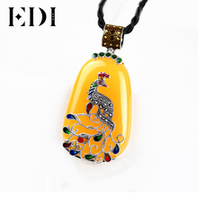 EDI Women/Men Vintage Agate Gems Long Pendants Necklaces Retro 925 Sterling Thai Silver Cord Peacock Figure Large Cloisonne D394