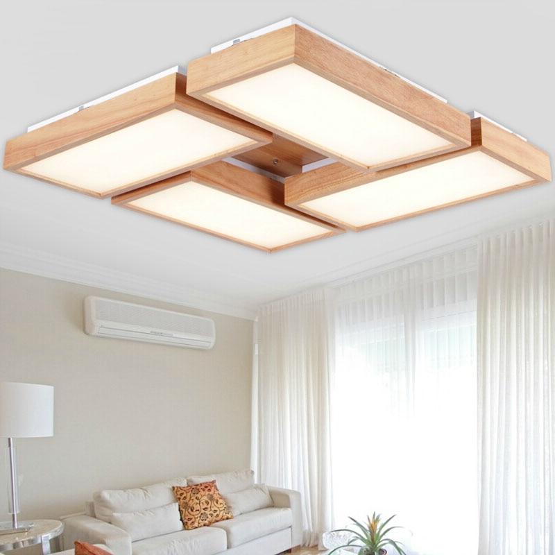 Sinfull Modern Oak Led Ceiling Lights Wooden Living Room Foyer Bedroom Ceiling Lamp Indoor Led Lighting