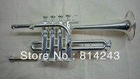 최고의 미국 Bb 피콜로 트럼펫 세 톤 트럼펫 모넬 피스톤 실버 도금 전문 악기