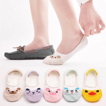 10 Pairs Women Socks Candy Color Small Animal Cartoon Pattern Invisible Nonslip Liner Suit for Summer Breathable Casual Sock