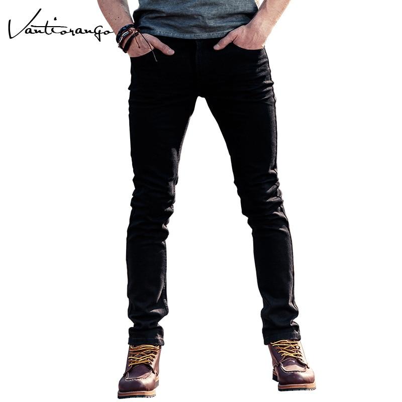 Vantiorango 2017 Autum Men's Trousers Casual Super Quality Slim Denim Pants Black Straight Full Length Men Jeans JYY0140