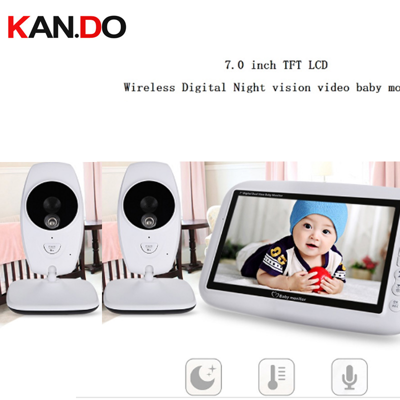 2.4 Wireless Baby Monitor Night Vision Temperature display music play two way audio the eld video monitor camera 2 cameras ...