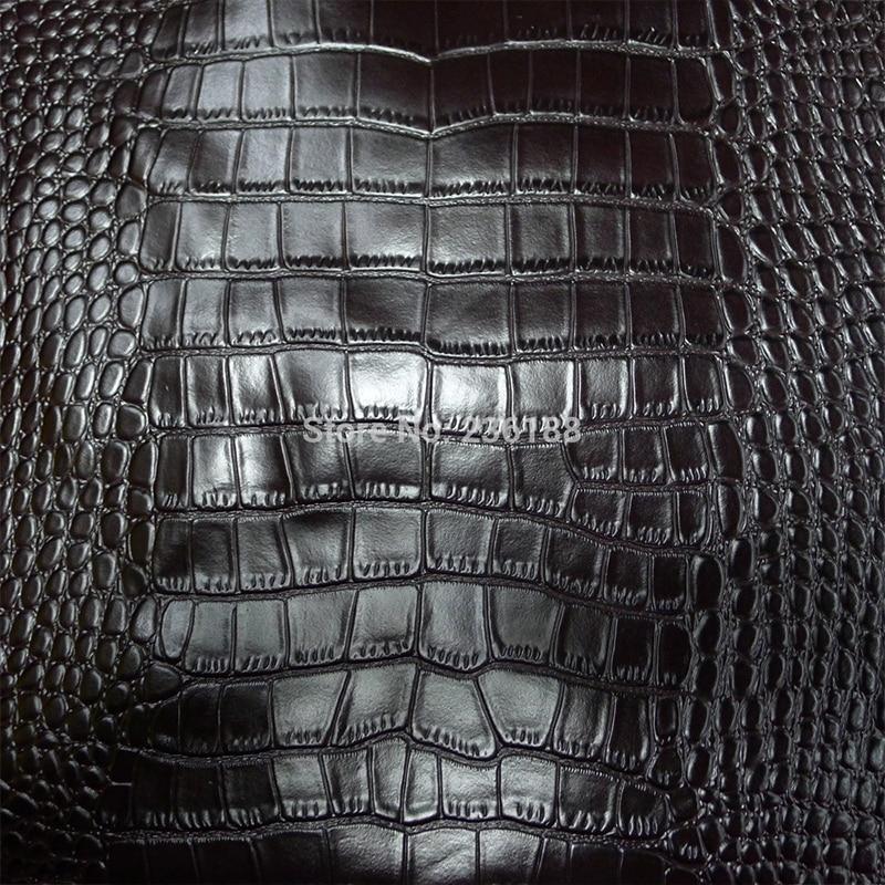 Klasická černá kůže z pravé hovězí kůže, textilie, krokodýl reliéfní, doprava zdarma