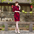 2017 Women Vintage Plus Size Chinese Short Traditional  Cheongsam Dress Gold Velvet Half Sleeve Elegant Qipao Red 2604