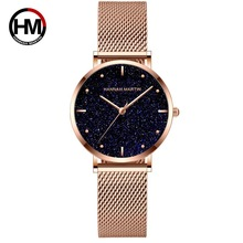New Watches For Women Top Brand Luxury Starry Sky Quartz Watch Rose Gold Stainless Steel Waterproof Clock relogio feminino