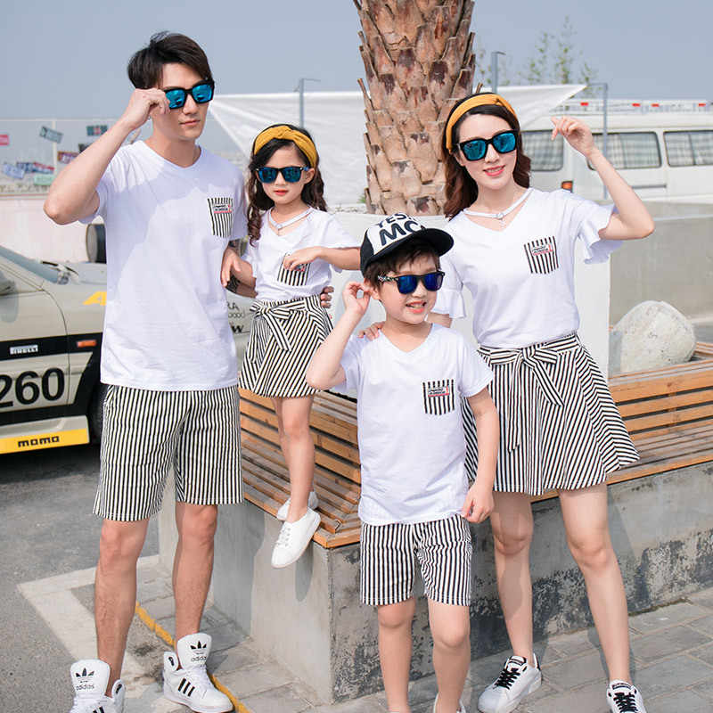 Fashion Summer Family Matching Outfits White V Neck T - Shirt With Stripes Shorts/Skirts Mother Dad Son Daughter Clothes Sets