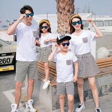 Модный летний комплект для всей семьи белая футболка с v образным