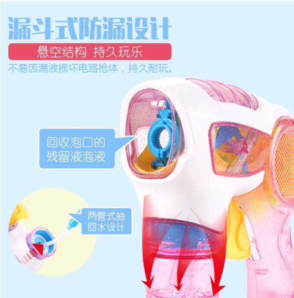 Colorful children bubble machine kids outdoor toys summer fun glowing toy gun