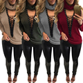 2017 Winter Knitted Sweater Women 2017 Winter Sexy Deep V-NECK Long Sleeve Lace Up Casual Pullover Ladies Loose Top Outwear