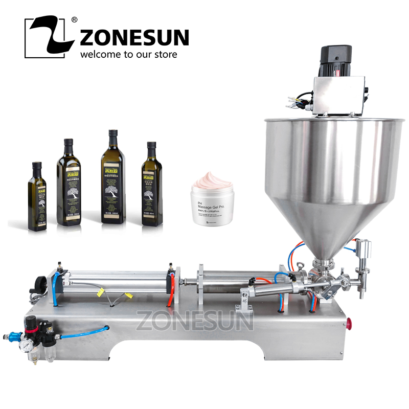 ZONESUN Mixing Very Viscous Food Paste Cream Packaging Equipment Bottle Filler Liquids Water Dosing Material Filling Machine applicatori di etichette manuali