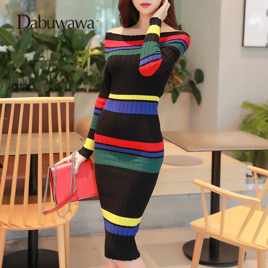 Dabuwawa Women Off Shoulder Sexy Stripped Bodycon Midi Dress Contrast Color Slim Fit Vintage Sheath Knitted