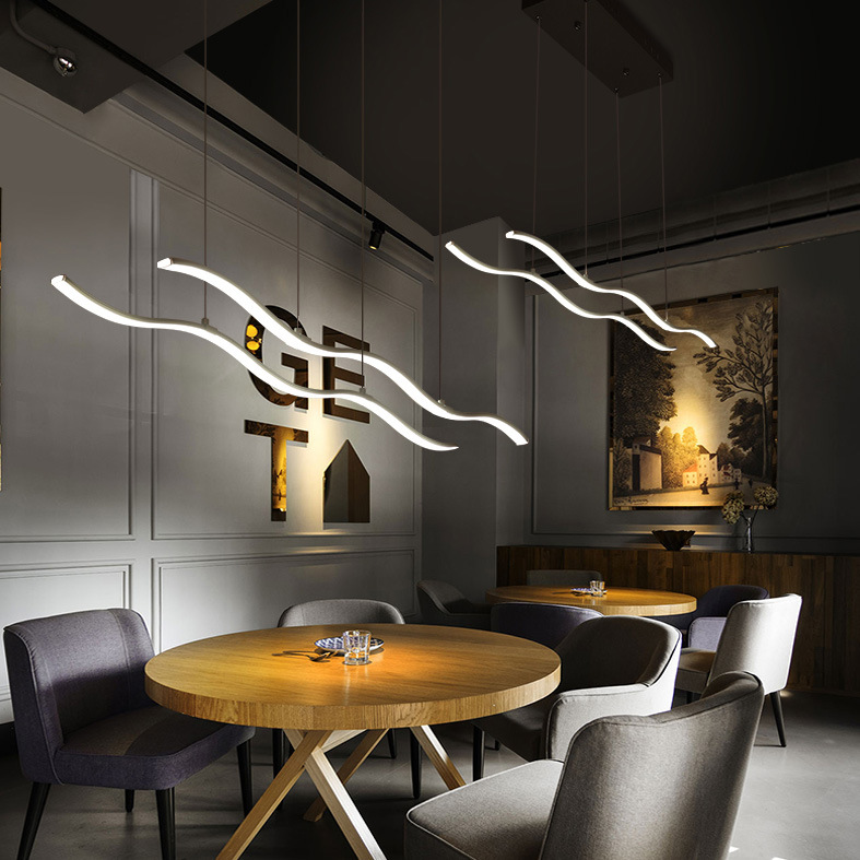 Wave Modern LED Pendant Lamp Dimmable Acrylic Aluminum Suspension Lighting Fixture Hanging Ceiling lamp Dining Room Kitchen Lamp