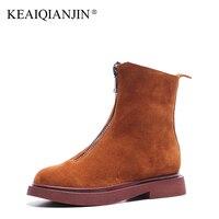 KEAIQIANJIN Woman Zipper Martin Boots Winter Autumn Bottine Plus Size 35 43 Black Brown Shoes Genuine