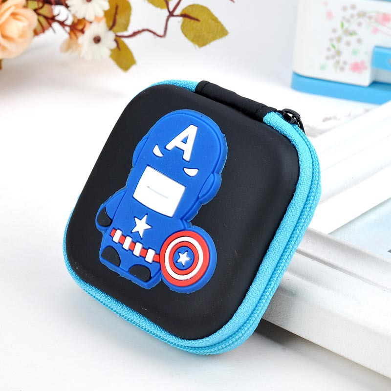 Novelty Cartoon Silicone Coin Purse Anime Avengers Hero Captain America Coin Bag Headset Organizer Zipper Case Kids Min Wallets containing package silicone rubber coin bag minion bag captain america gift promotional headset charger pouch holder coin purse