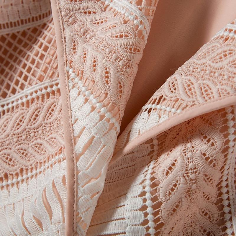 Couture Élégant Dentelle Hiver Conception Gloria Originale Gland rose Manteau 2018 Noir Survêtement Automne Tranchée Et Grâce noir Longue Rose Haute FqzCanPfwx