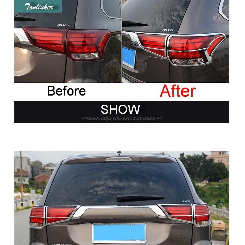979021aa1 Tonlinker 4 قطع ألواح رسومات للسيارات يمكنك تركيبها بنفسك التصميم ABS كروم  الخلفية ضوء ملصقات مربع غطاء حالة ملصقات ل ميتسوبيشي أوتلاندر 2016