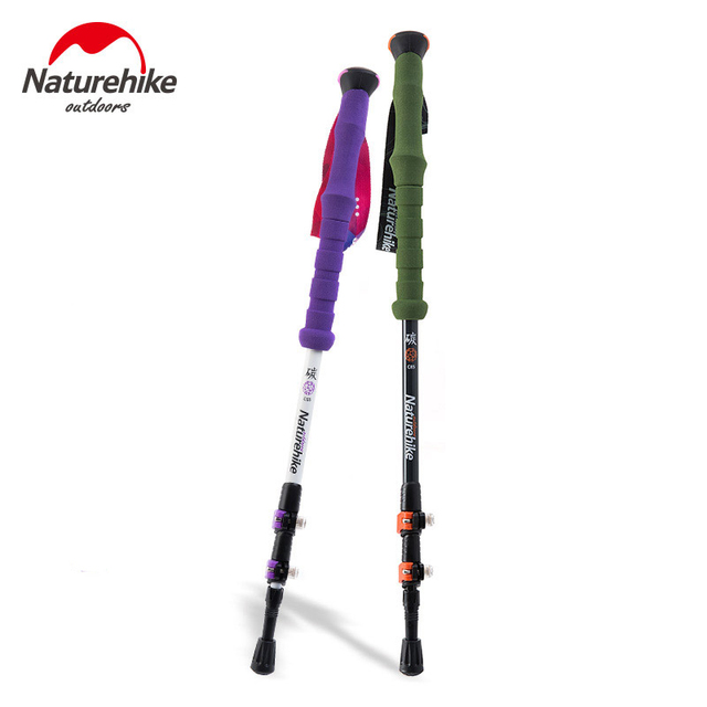 Superior Naturehike Carbon Fiber Hiking Stick Trekking Pole Walking Stick Antishock  Baston Trekking Plegable Bastones Senderismo 200g