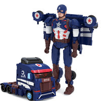 Children Robot Toy Transformation Super Hero Captain America Figure Toy Robot Car ABS Plastic Model Action Figure Toy for Child