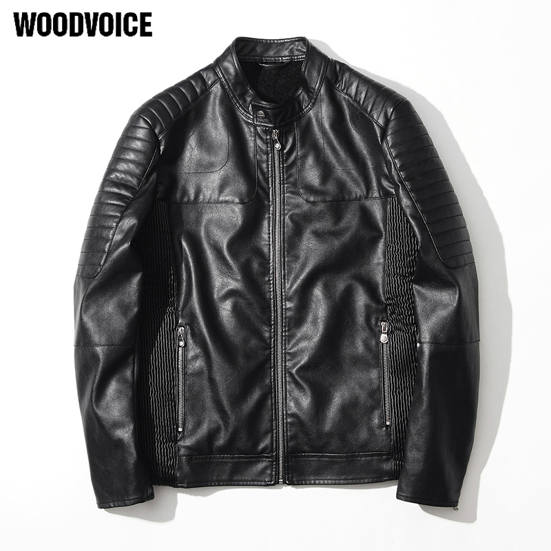 Woodvoice Brand 2017 New leather jackets men brand clothing high quality Motorcycle Leather Jackets Mens Leather Bomber Jackets