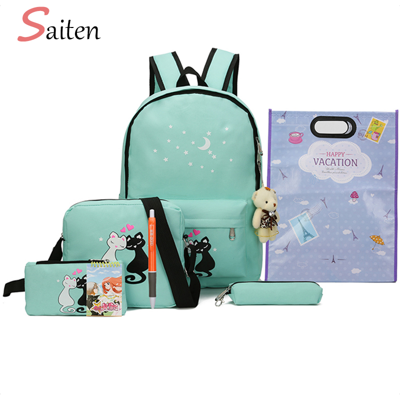 8Pcs set Canvas Women Backpacks Female Schoolbag Cute Cat Printing School Bag For Teenager Girls Solid Student Backpack Moclila zooler women s backpack eyes sequined designer black cartoon eyes backpacks travel bag cute shell backpacks for teenager girls