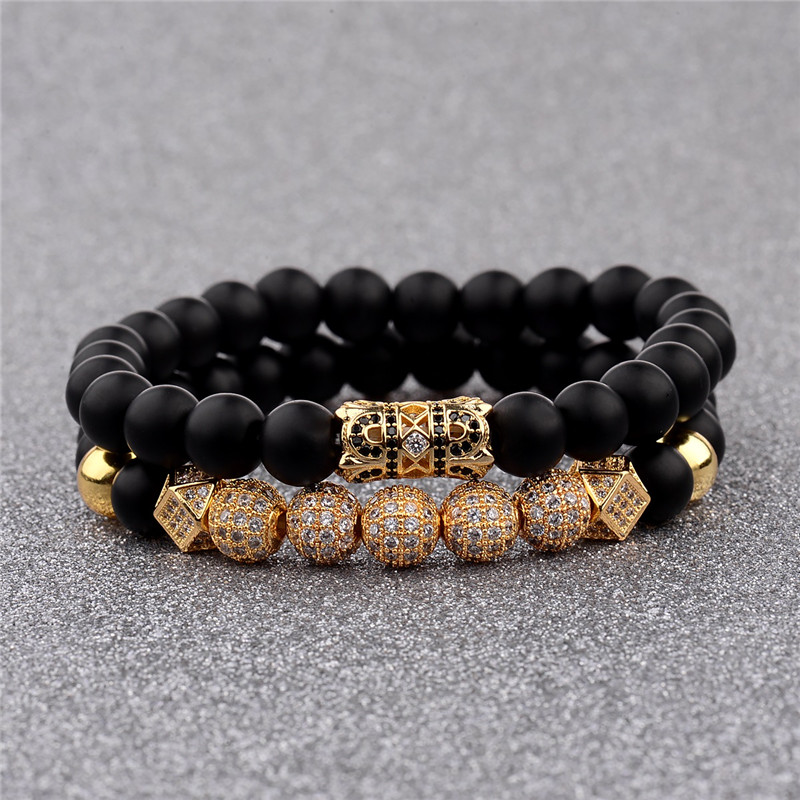 2018 New Zircon Ball Strand Bracelet Men Inlay CZ Pave Natural Stone Beads Bracelets Set Women Jewelry Hand Accessories
