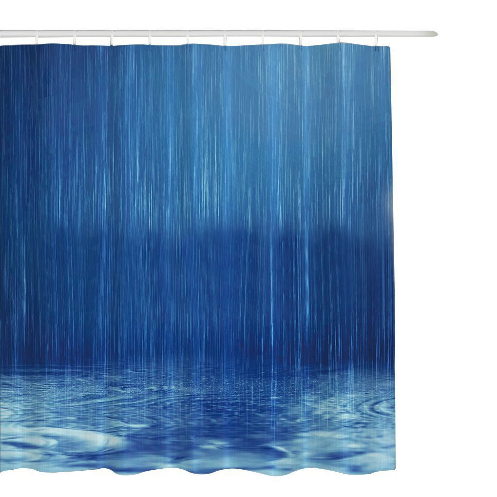 2017 High Quality 6 Size Blue Polyester Mildew Resistant Shower Curtain Waterproof Bathroom Partition Curtain