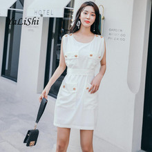 Plus Size Summer Solid Women Bandage Dress White Sleeveless Tank Button O-neck Office Lady Dress Casual Mini Dresses Vestidos pu leather panel plus size sleeveless bandage mini dress