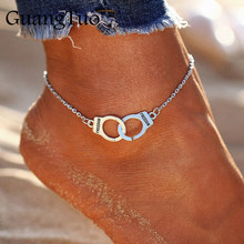 L018 Hot Sale Vintage Silver Color Handcuffs Anklets for Women Bohemian Freedom Ankle Bracelet on the Leg Barefoot Party Jewelry(China)