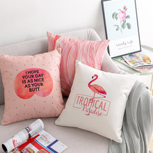 ins hot nordic girl style pink cotton cushion cover Unicorn Flamingo Feather letters geometry pillow cover decorative pillowcase ins hot feather 70