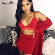 2018 Newest Deep V-Neck Solid 2 Pieces Set Dress Sexy Sleeveless Backless Dresses Female Pencil NightClub Party Dreses(China)