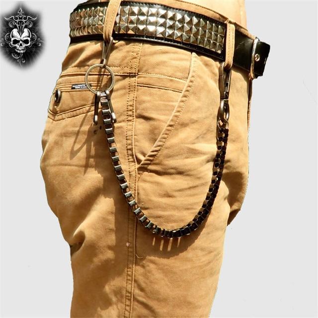 Fashion Punk Hip-hop Trendy Waist Chain Shield Charm Double Hinge Male Pants Belt Chain Women Men Jeans Metal Accessories DR53 3